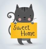 Animal de compagnie de chat tenant la maison douce bienvenue propre Photos libres de droits