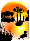 Animal de estimação que olha o por do sol ilustração stock