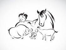 Animal de exploração agrícola do vetor ajustado no fundo branco Imagens de Stock
