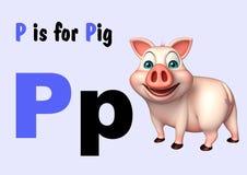 Animal de ferme de porc avec l'alphabet Image libre de droits