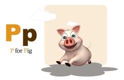 Animal de ferme de porc avec l'alphabet Photo stock