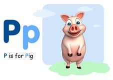Animal de ferme de porc avec l'alphabet Photo libre de droits