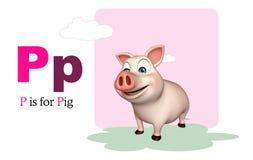 Animal de ferme de porc avec l'alphabet Image stock
