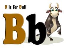 Animal de ferme de Taureau avec l'alphabet Photos libres de droits