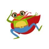 Animal de grenouille habillé comme super héros avec un caractère masqué comique de surveillant de cap illustration de vecteur