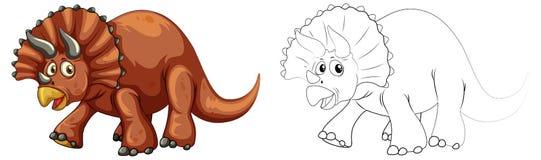Animal de griffonnage pour le dinosaure de triceratops Photographie stock libre de droits