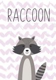 Animal de la historieta, mapache lindo Cartel, tarjeta para los niños foto de archivo libre de regalías