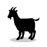 Animal de la silueta del negro del mamífero de la granja de la cabra stock de ilustración