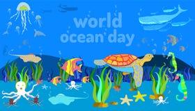 animal de mar subaquático Dia do oceano do mundo mão da garatuja que tira o estilo colorido do projeto Ilustra??o EPS10 do vetor ilustração stock