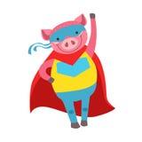 Animal de porc habillé comme super héros avec un caractère masqué comique de surveillant de cap illustration de vecteur