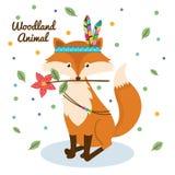 Animal de région boisée de Fox avec la couronne de plume Images libres de droits