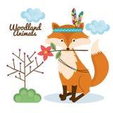 Animal de région boisée de Fox avec la couronne de plume Images stock