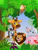 Animal de safari de bande dessinée dans la jungle Photographie stock libre de droits