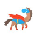 Animal de sourire de cheval habillé comme super héros avec un caractère géométrique masqué comique de surveillant de cap illustration stock