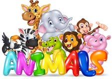 Animal de Word avec l'animal sauvage de bande dessinée Photos stock
