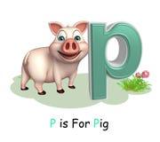 Animal del campo de cerdo con alfabeto Fotografía de archivo libre de regalías