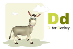 Animal del campo del burro con el alphabte Imagen de archivo libre de regalías