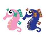 Animal del ejemplo del extracto del diseño de la historieta del icono del Seahorse Imagenes de archivo