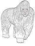 Animal del gorila del colorante para los adultos ilustración del vector