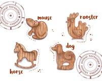 Animal del horóscopo como juguetes de madera Imagen de archivo libre de regalías