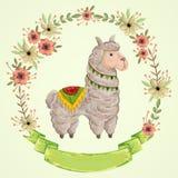 Animal del lama con la guirnalda floral en estilo de la acuarela Personaje de dibujos animados
