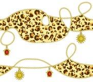 Animal del leopardo y cadena de oro con el sol de oro, diseño inconsútil del modelo del color de rubíes del diamante, fondo de libre illustration