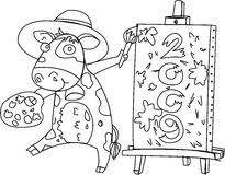 An Animal Displaying a Board. Sketch of An Animal Displaying a Board on white background Royalty Free Stock Images