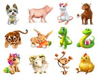Animal divertido en el zodiaco chino, calendario chino Sistema del icono del vector imagen de archivo libre de regalías