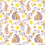Animal do bebê do coelho da mãe e do abraço do momhedgehog Teste padrão sem emenda pintado aquarela Imagens de Stock Royalty Free