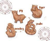 Animal do horóscopo como brinquedos de madeira Imagens de Stock