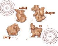 Animal do horóscopo como brinquedos de madeira Fotografia de Stock