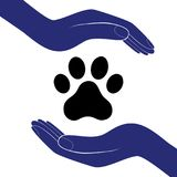 Animal dog paw in people hand, human help encourage vector illustration. Stock Photo