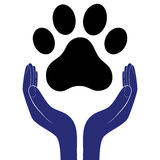 Animal dog paw in people hand, human help encourage vector illustratration. Animal dog paw in people hand, human help encourage vector illustratration royalty free illustration