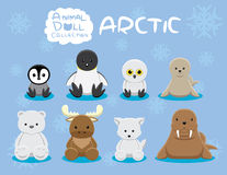 Animal Dolls Arctic Set Cartoon Vector Illustration Stock Photo