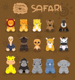 Animal Dolls Safari Set Cartoon Vector Illustration Royalty Free Stock Image