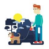 Animal doméstico con el dueño Foto de archivo