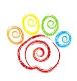 Animal doméstico de la impresión de la pata con swirly el logotipo del corazón Fotografía de archivo