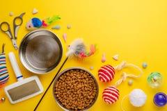 Animal doméstico, gato, comida y accesorios del gato viviendo endecha plana, con el espacio para el diseño, en fondo amarillo imagen de archivo libre de regalías