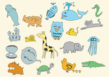 Animal doodle child drawn cartoon art Royalty Free Stock Photography