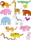 Animal doodle collection Stock Image