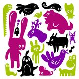 Animal doodles. A colorful animal doodles set Royalty Free Stock Photos