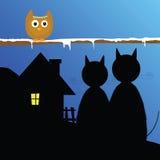 Animal drôle avec le vecteur de chat et de maison Image libre de droits