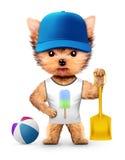 Animal drôle dans la casquette de baseball tenant la pelle illustration stock