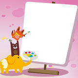 Animal drawing board. Animals standing drawing board frame Stock Photo