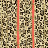 An animal drawing of a leopard skin with golden knotted ropes. Seamless vertical vector pattern