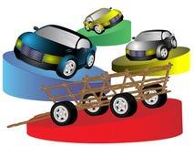 Animal-drawn vehicle and cars Royalty Free Stock Image