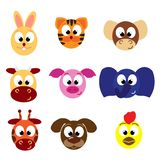 Animal emoticons. Face icons vector illustration