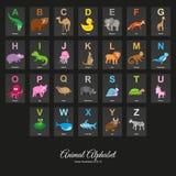 Animal English Alphabet. Colorful vector illustration on on black background royalty free illustration