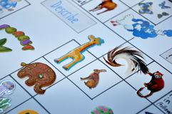 Animal english stickers game on paper Stock Image
