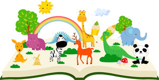 Animal et livre Image stock